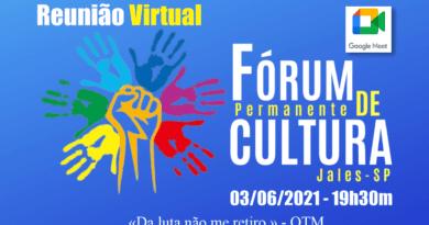 Fórum Municipal e Permanente de Cultura de Jales se reúne nessa quinta-feira (feriado)
